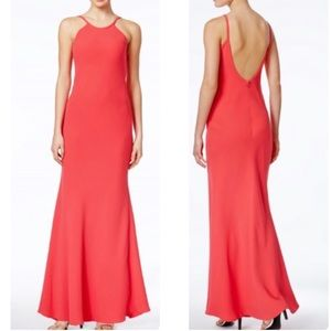 Open Back Halter Neck Crepe Gown